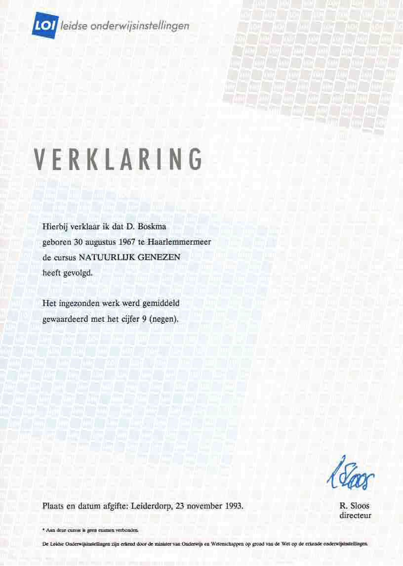 Healing Naturally Certificate