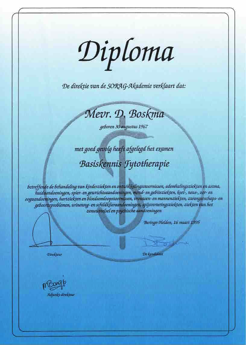 Phytotherapy diploma
