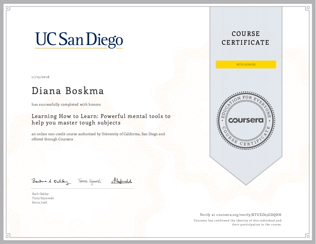 UC San Diego Learning How to Learn