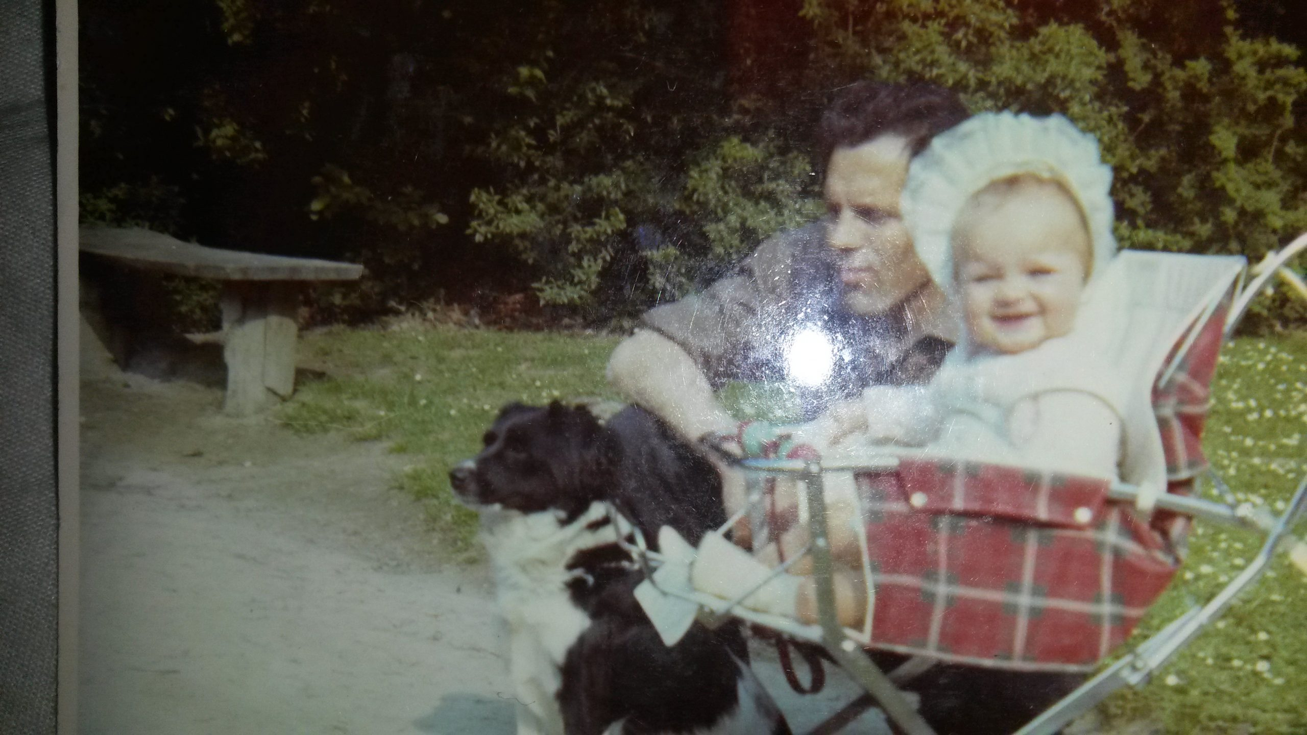 My dad, Pieta the dog and me